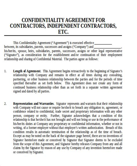 contractor confidentiality agreements 9 contractor agreement sles pdf doc sle templates