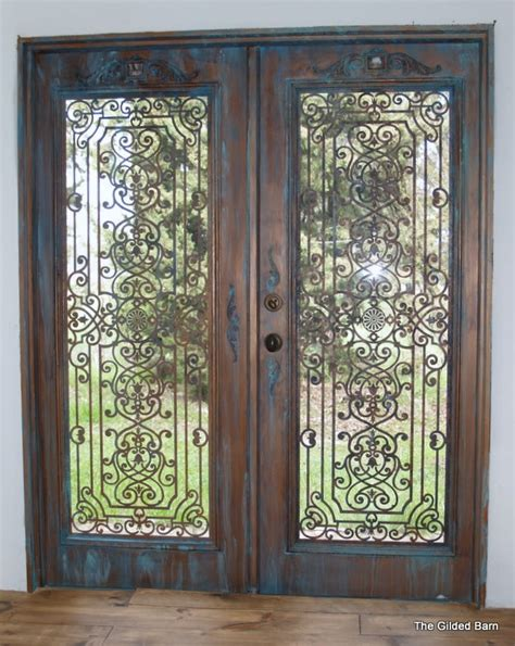 Iron Interior Doors Faux Bronze Patina Doors With Faux Wrought Iron Chez Moi Pinterest Doors Wrought Iron And