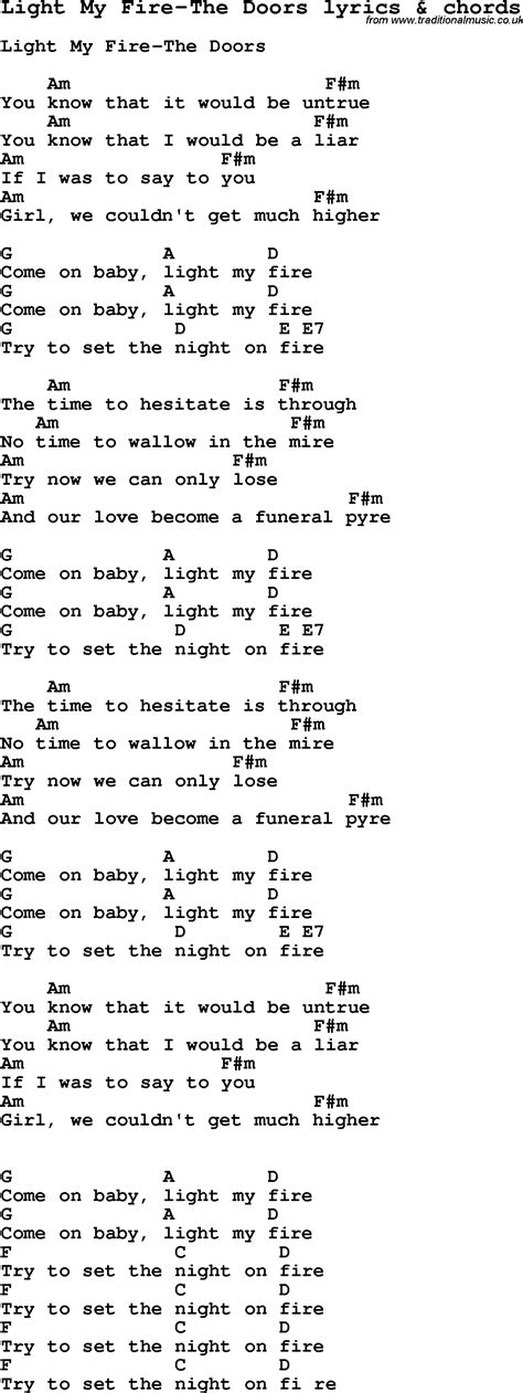 printable lyrics to love is an open door love song lyrics for light my fire the doors with chords