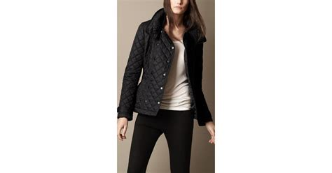 Womens Burberry Quilted Jacket Sale by Burberry Brit Funnel Collar Quilted Jacket In Black Lyst
