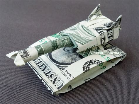 Origami Army Tank - tank dollar origami vehicle made of real money