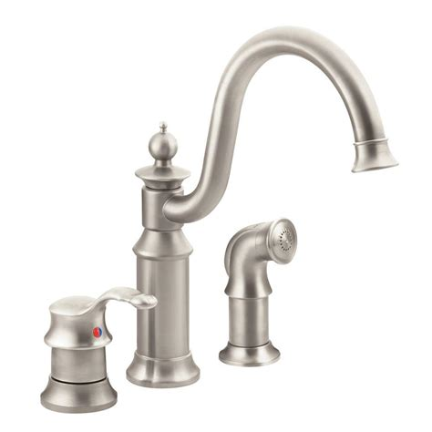 moen kitchen faucets moen waterhill high arc single handle standard kitchen faucet with side sprayer in spot resist