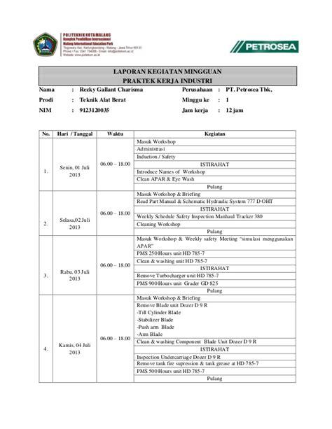 contoh laporan ojt laporan kegiatan mingguan form nilai