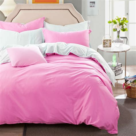 2015 new solid color bedding bed set sets 4pcs pink high