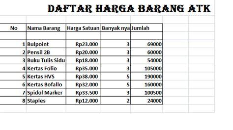 contoh daftar harga barang service laptop
