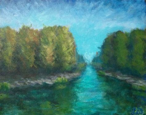 River Landscape 3 Acrylic Painting By L W By Leowhy On