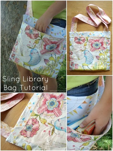 50 Bag Tutorials Patchwork Posse Easy Sewing Projects - sling library bag tutorial sew bags sewing projects