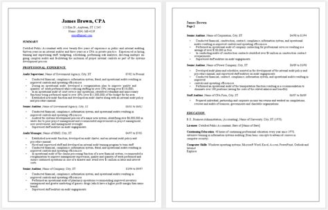 Cpa Resume Templates by Professional Cpa Resume Sle