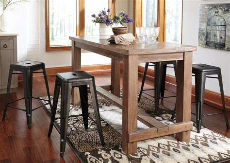 dining room bar furniture oak furniture liquidators pinnadel rectangular counter table w 4 gray stools