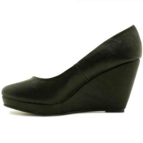 buy wedge heel platform court shoes black leather style