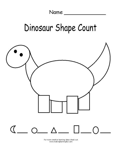 Dinosaur Worksheets by Dinosaur Counting Coloring Pages