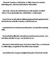 Tuesdays With Morrie Essays by Tuesdays With Morrie At Essaypedia