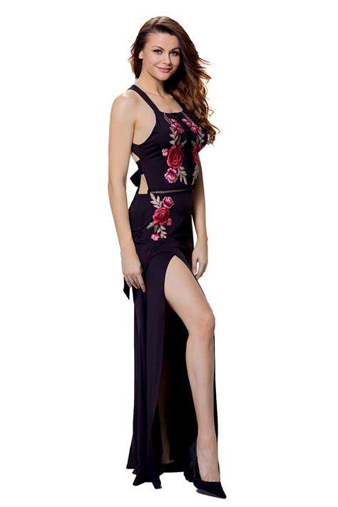 Dress 41345 Flower With Slit S M L cheap wholesale black high split floral embroidered maxi dress
