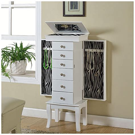 jewelry armoire big lots view white with zebra print jewelry armoire deals at big lots