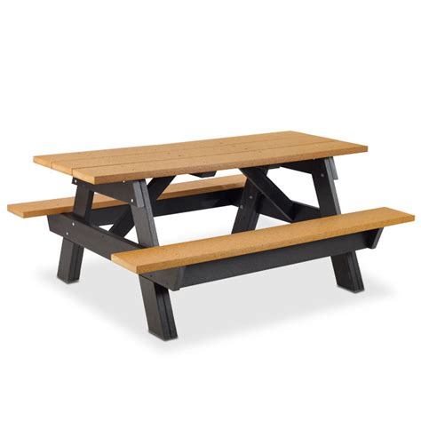 6 rectangular picnic table recycled plastic legs