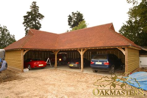 l shaped garages open l shaped oak garage with gablet hip roof 5009