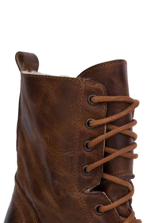 steve madden jupitr f heeled combat boots in brown lyst