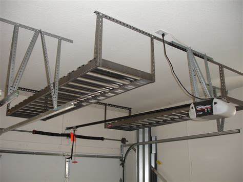 Garage Organization Overhead Crowded Garage Overhead Storage Diy With White Wall Applied