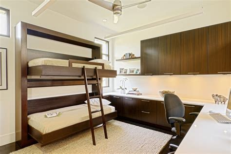 Bunk Bed With Office Guest Room Office Family Rustic With Transitional Wall Sconces Pranaycoffee