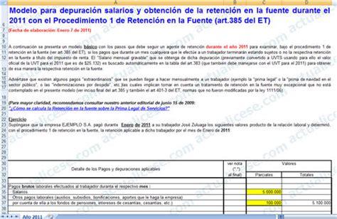 salario legal 2011 retenciones en la fuente 2011 salarios