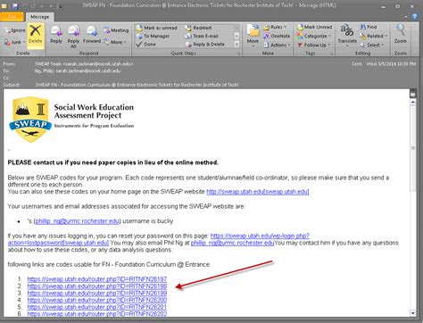 format email link online instruments social work education assessment project