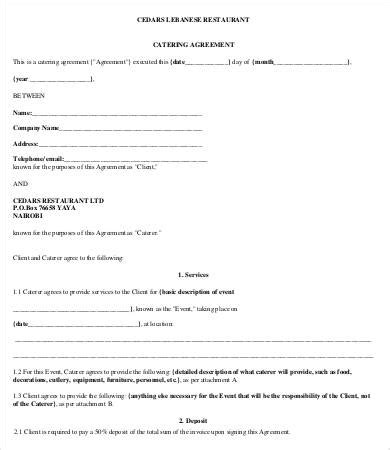 Catering Agreement Template 9 Free Word Pdf Format Download Free Premium Templates Restaurant Contract Template