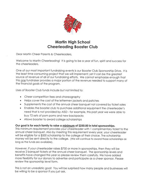 Sponsorship Letter Cheerleading Booster Club
