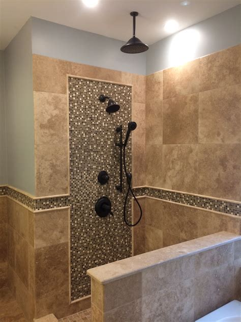 Bath Shower Inserts custom travertine shower glass mosaic multiple shower