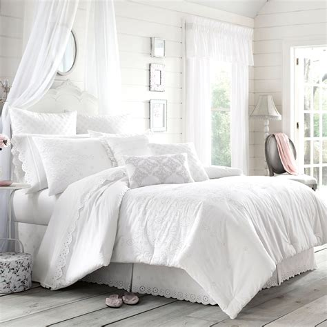 white bed comforters lucy eyelet white comforter bedding by piper wright
