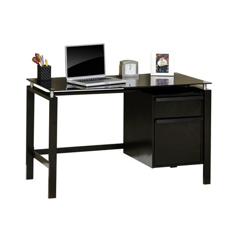 Shop Sauder Lake Point Black Glass Student Desk At Lowes Com Glass Student Desk