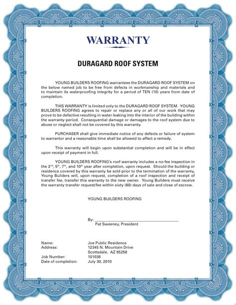 roofing guarantee template workmanship warranty 12 yr