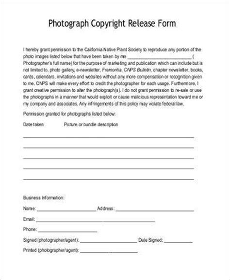 photography copyright release form sle photo copyright release forms 8 free documents