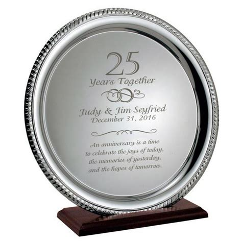25th wedding anniversary gift ideas silver 25th anniversary personalized plate on wood base