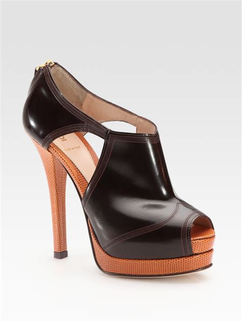 fendi chameleon platform ankle boots in brown lyst