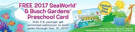 Busch Gardens Ez Pass by Free 2017 Busch Gardens And Seaworld Preschool Card
