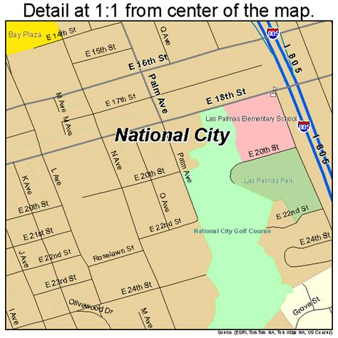 On The Town Nation by National City California Map 0650398