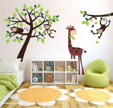 Monkey Wall Decals For Nursery Monkey Tree Jungle Nursery Wall Stickers Decals Giraffe Childrens Bedroom Uk 3 Sprouts
