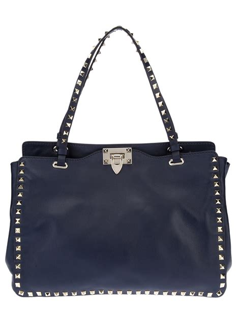 Studded Bag valentino studded tote bag in blue lyst