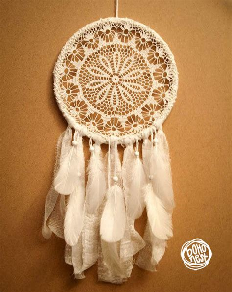 Handmade Web - catcher white flower unique from bohonest on etsy