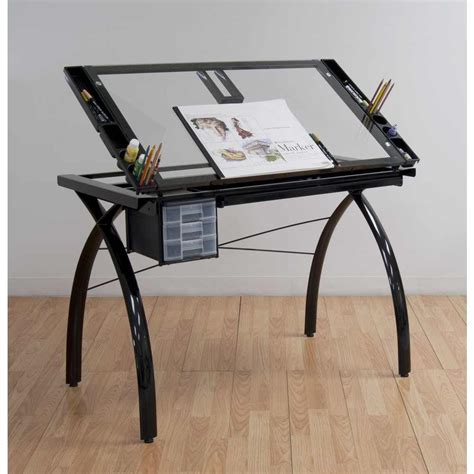 Studio Designs Drafting Tables Studio Designs Futura Drafting And Craft Table Color Black Frame And Clear Glass 10072