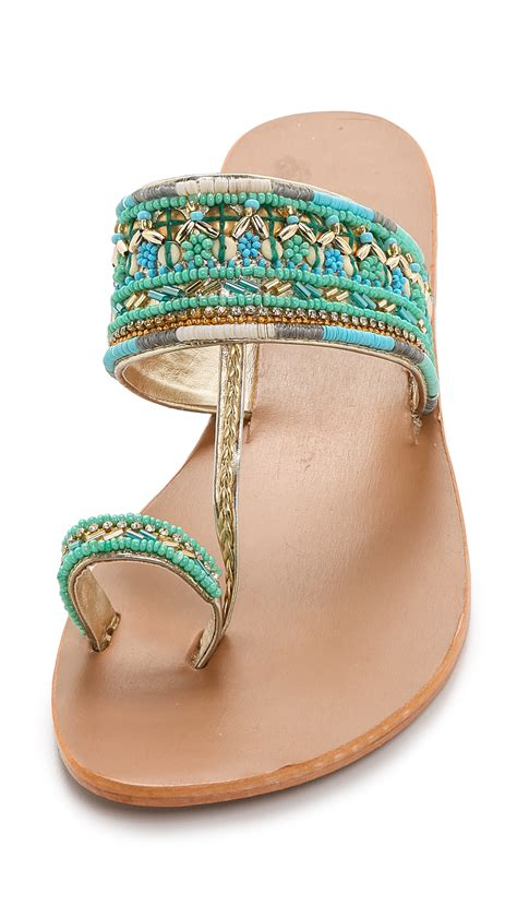 sandals beaded lyst mela sabri beaded sandals turquoise in blue