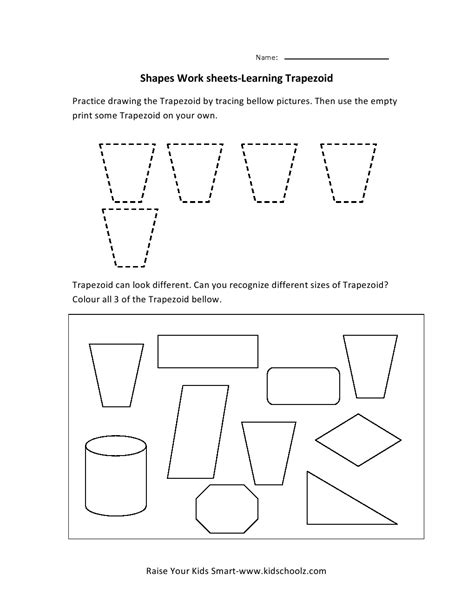 free printable area of trapezoid worksheets free coloring pages of identifying shapes