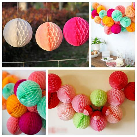 How To Make Paper Pom Poms Balls - 25cm 10 tissue paper pom poms honeycomb lantern