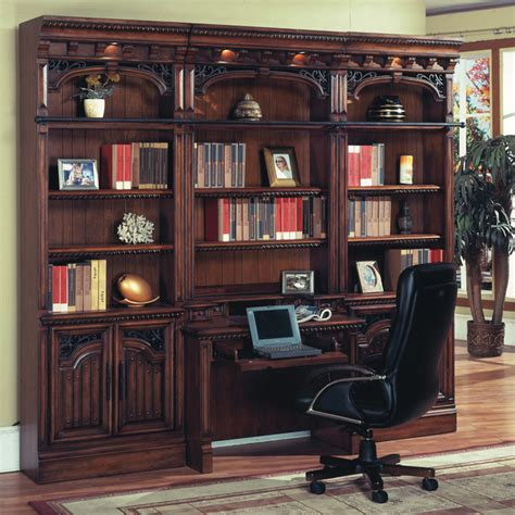 barcelona library hutch desk w ladder in antique walnut