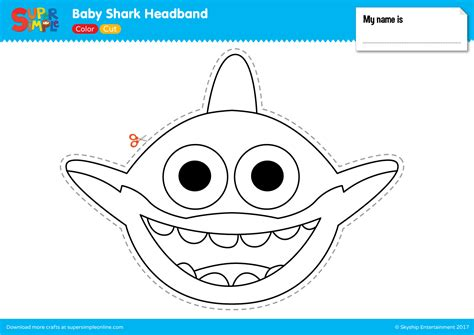 baby shark template baby shark headband super simple