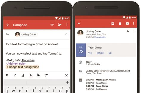 mobile gmail gmail app updates rich text instant rsvps bgr