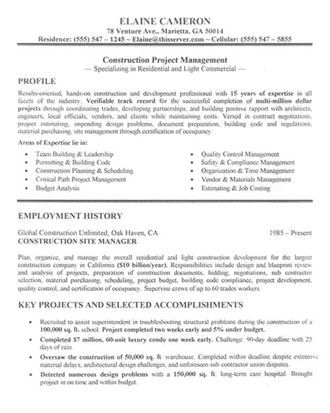 Resume Sles For Construction Supervisor Construction Manager Resume Exle Sle