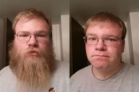 shaved genitals before and after shaving his beard funny