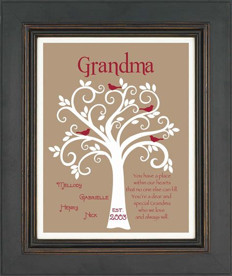 grandma gift family tree 8x10 custom print personalized