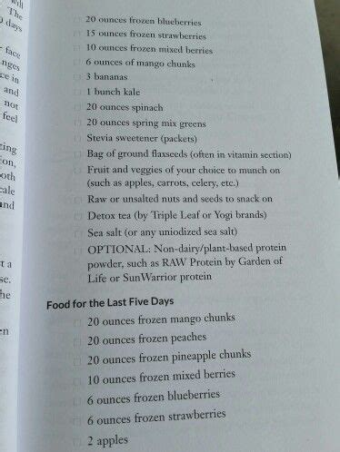 Jj Smith Detox Diet by Shopping List Last 5 Days 10 Day Cleanse